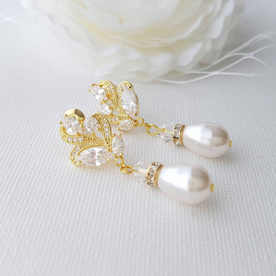 Rose Gold Bridal Earrings With Pearl Drops-Wavy