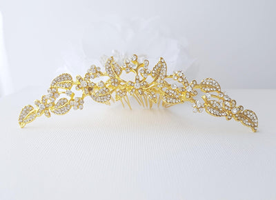 Crystal Bridal Hair Comb, Rose Gold, Gold, Wedding Hair Comb, Crystal Wedding Tiara, Hair Comb for Bride, Bridal Hair Jewelry