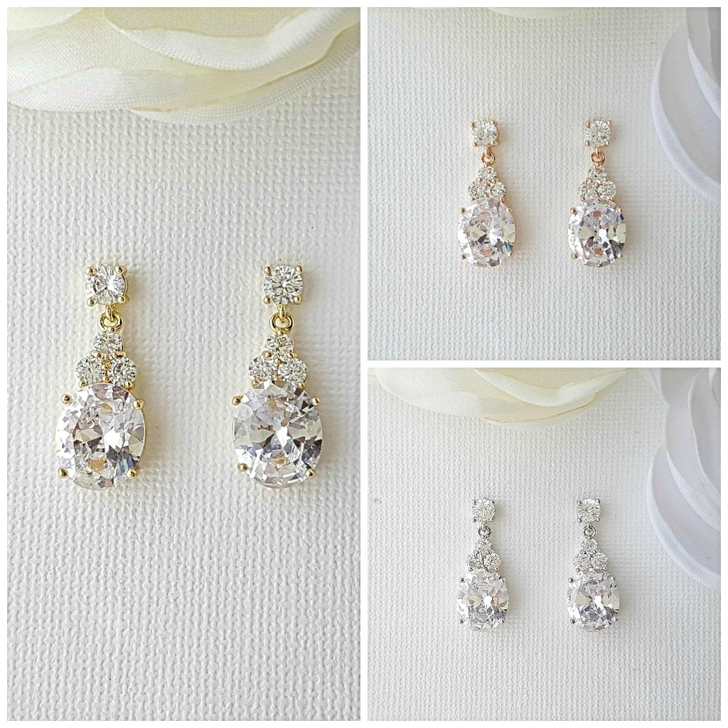 Bridal Earrings, Crystal Bridesmaid Earring, Wedding Earrings, Rose Gold, Gold, Bridal Crystal Earrings. Wedding Jewelry, Misha