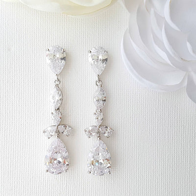 cubic zirconia drop earrings wedding
