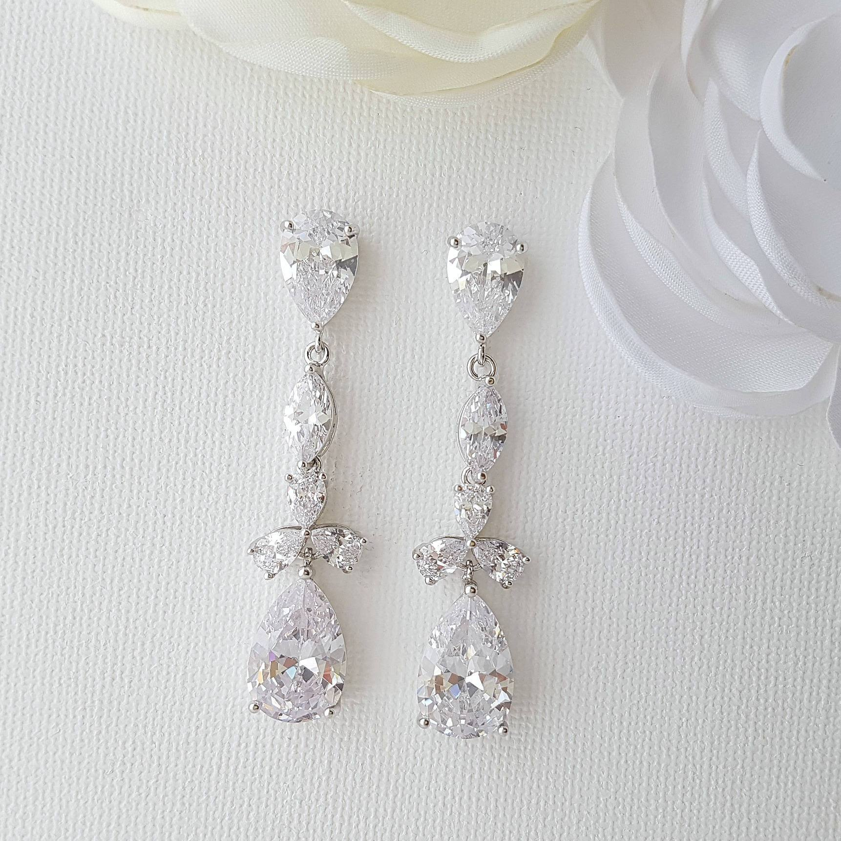 Cubic Zirconia Drop Earrings-Adeline
