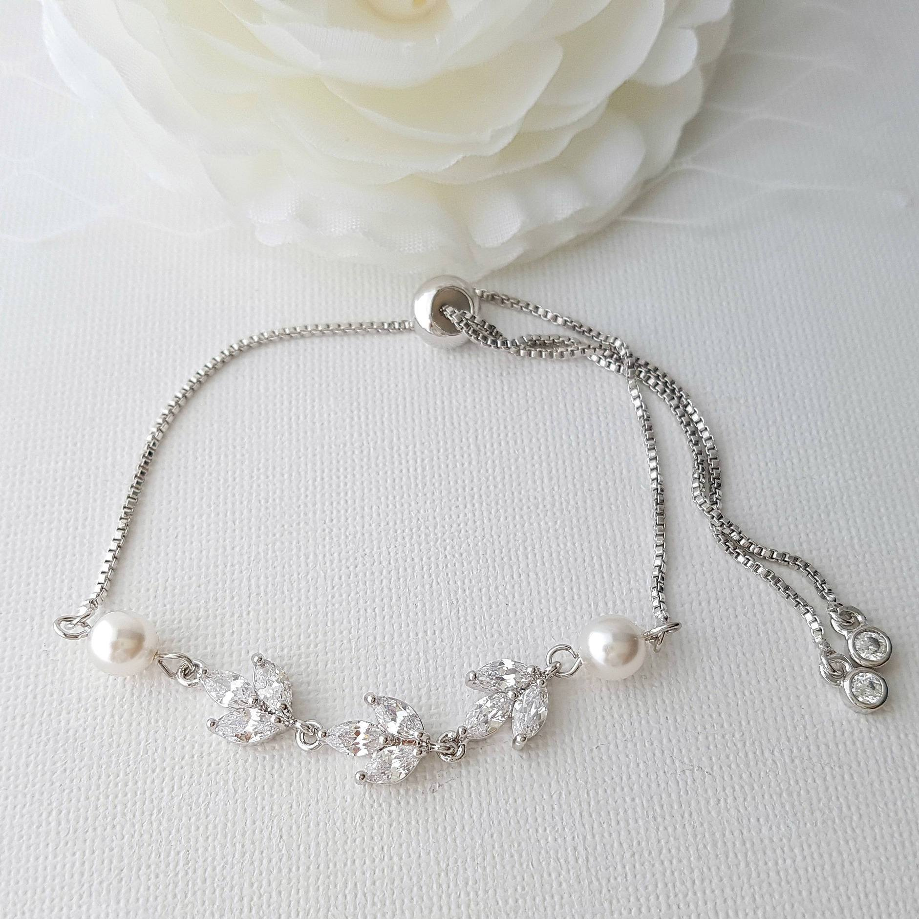 Adjustable Marquise Crystal Bridal Bracelet for Weddings, Formal, Prom-Leila