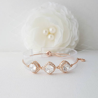 Cushion Cut Rhombus Shaped CZ Slider Bracelet- Celia