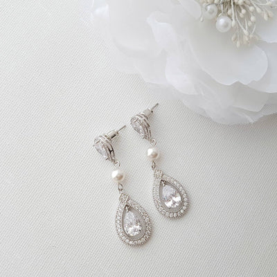 Crystal Wedding Earrings, Bridal Jewelry, Cubic Zirconia, Swarovski Pearl Earrings, Halo Style, Stud Drop Earrings, Wedding Jewelry, Sarah
