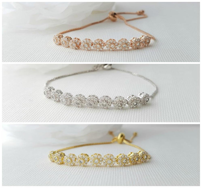 Gold Bridal Bracelet, Bangle Bracelet, Wedding Jewelry, Rose Gold, Crystal , Wedding Bracelet, Adjustable Bracelet, Reagan Bracelet