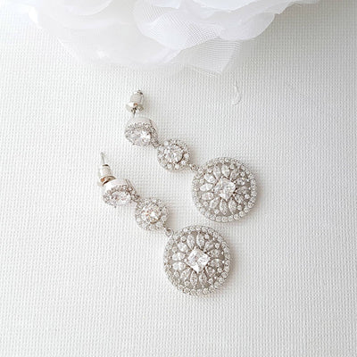 Silver circle drop Wedding earring