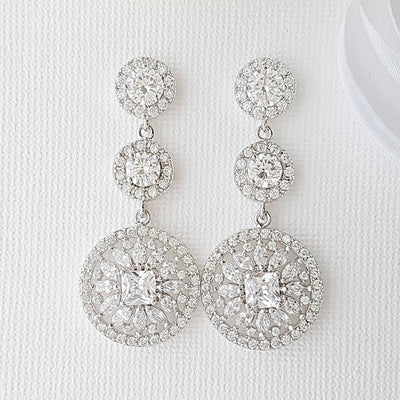 Circle Drop Earrings with Inlaid cubic zirconia for Weddings