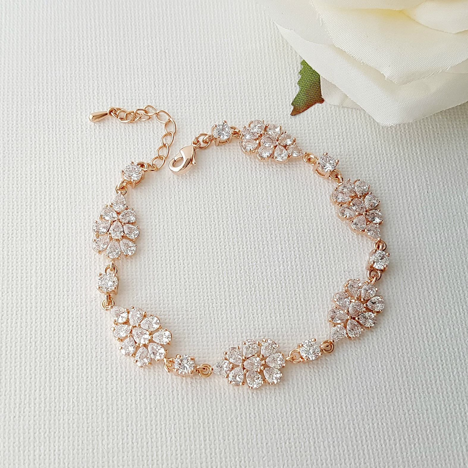 Rose Gold Bridal Bracelet Crystal Wedding Bracelet Wedding Jewelry