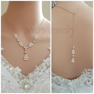 Rose Gold Necklace, Wedding Necklace, Crystal Back Necklace, Bridal Jewelry, Leaf Necklace, Cubic Zirconia, Back Jewelry, Julia