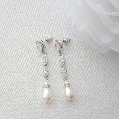silver and pearl drop earrings bridal and formal Jewlery