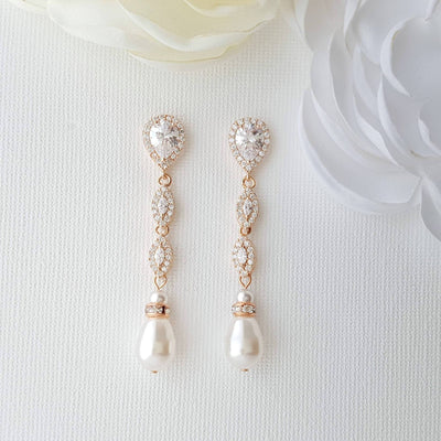 Pearl Drop Clip On Earrings in Silver-Abby