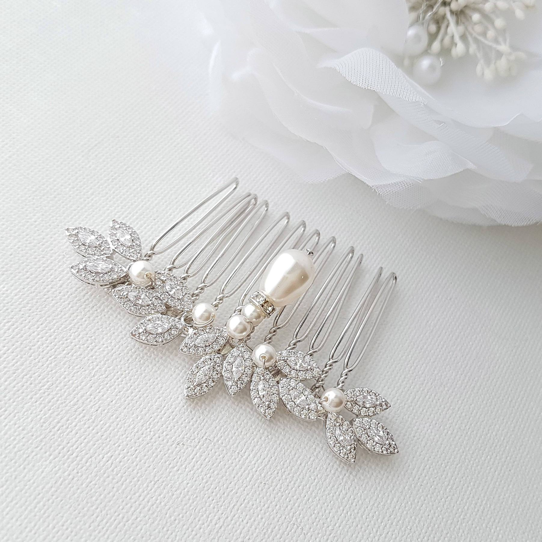 Crystal Hair Comb, Pearl Wedding Hair Comb, Leaf Haircomb, Zirconia Hair Comb, Swarovski Pearls, Bridal Hairpiece, Hair Accessories, Abby