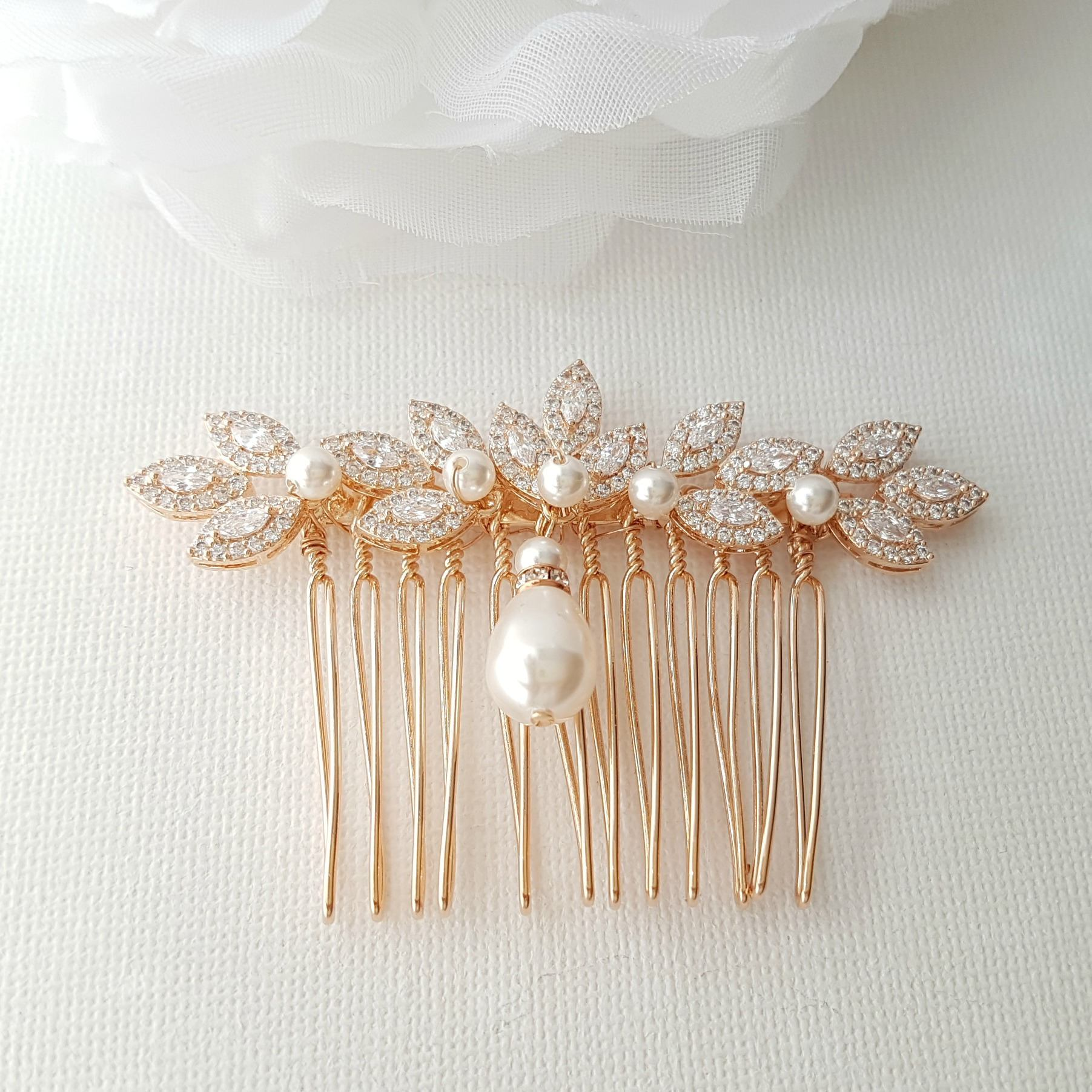 Rose Gold Hair Comb, Crystal Leaf Hair Comb, Wedding Hair Comb, Rose Gold Headpiece, Pearl Drop, Crystal Hair Comb, Gold Hair Comb, Abby - PoetryDesigns