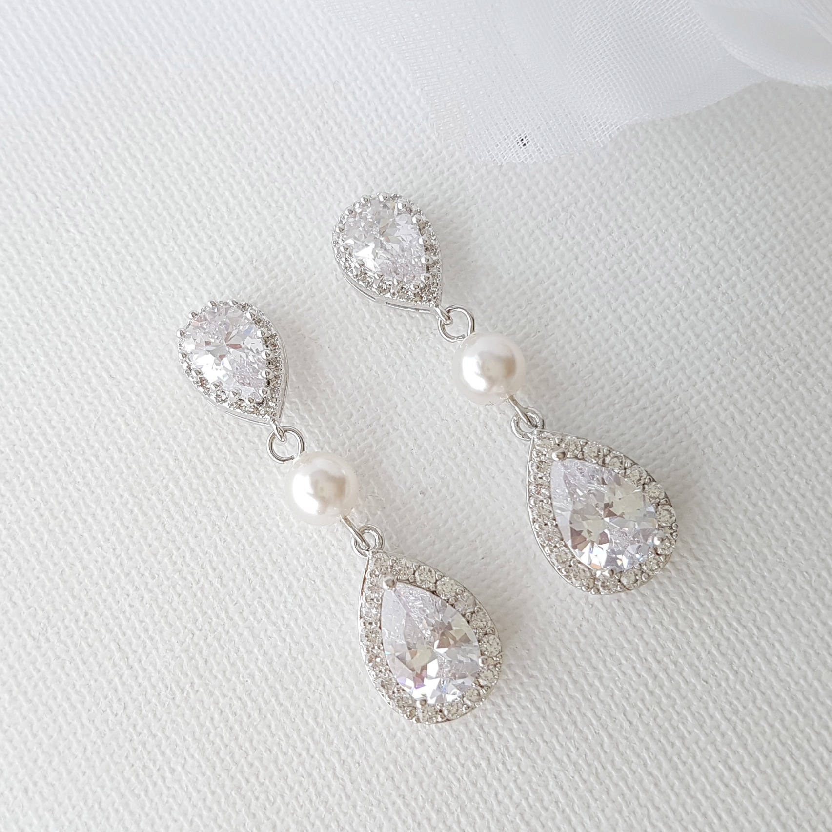 Teardrop Bridal Earrings-Emma