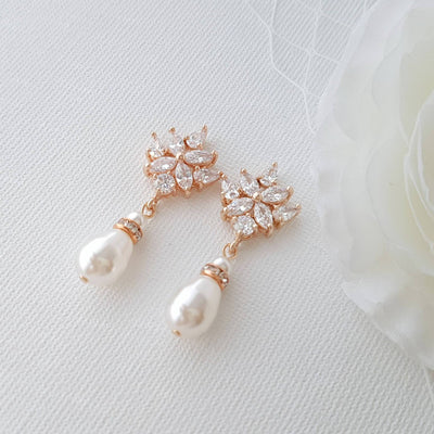 Rose Gold Bridal Earrings, Crystal Wedding Earrings, Bridesmaid, Swarovski Pearls Drop Earrings, Bridal Jewelry, Rose Gold Jewelry, Rosa