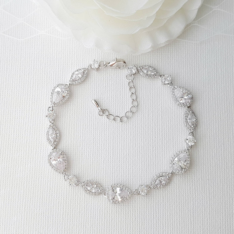 Wedding Bracelet, Crystal Bridal Bracelet, Wedding Jewelry, Simple Bracelet,Rose Gold, Gold, Bridal Jewelry, Abby Bracelet