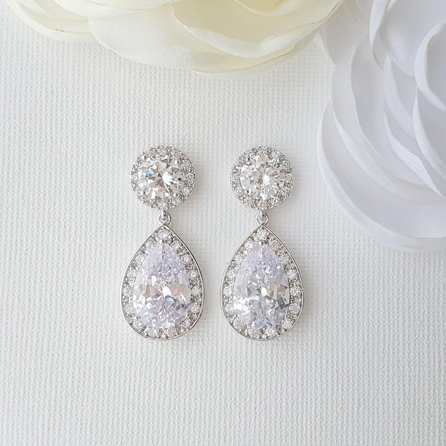 Silver Drop Earrings-Evita