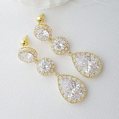 Cubic Zirconia Gold Drop Earrings-Evita