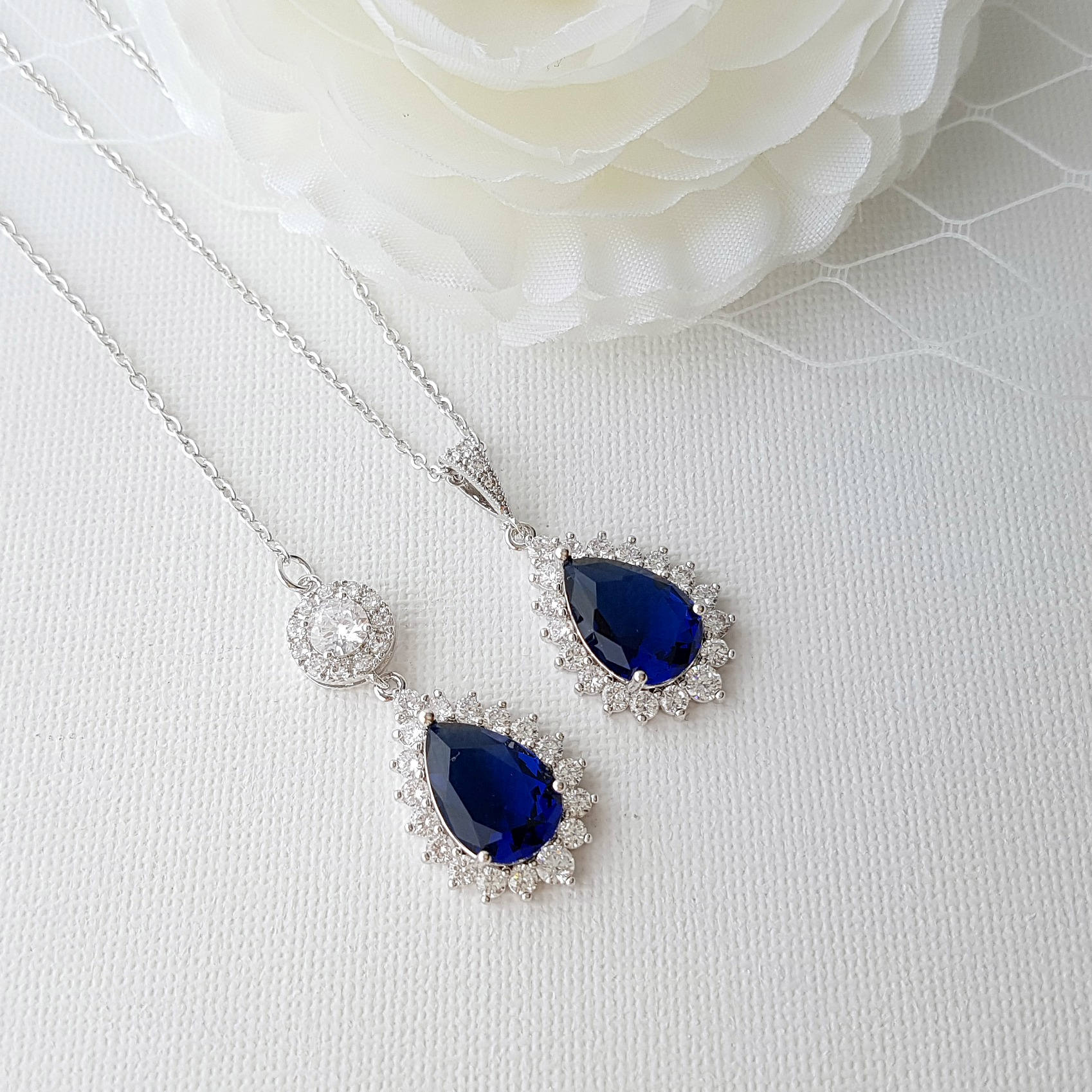 Something Blue Bridal Necklace- Aoi