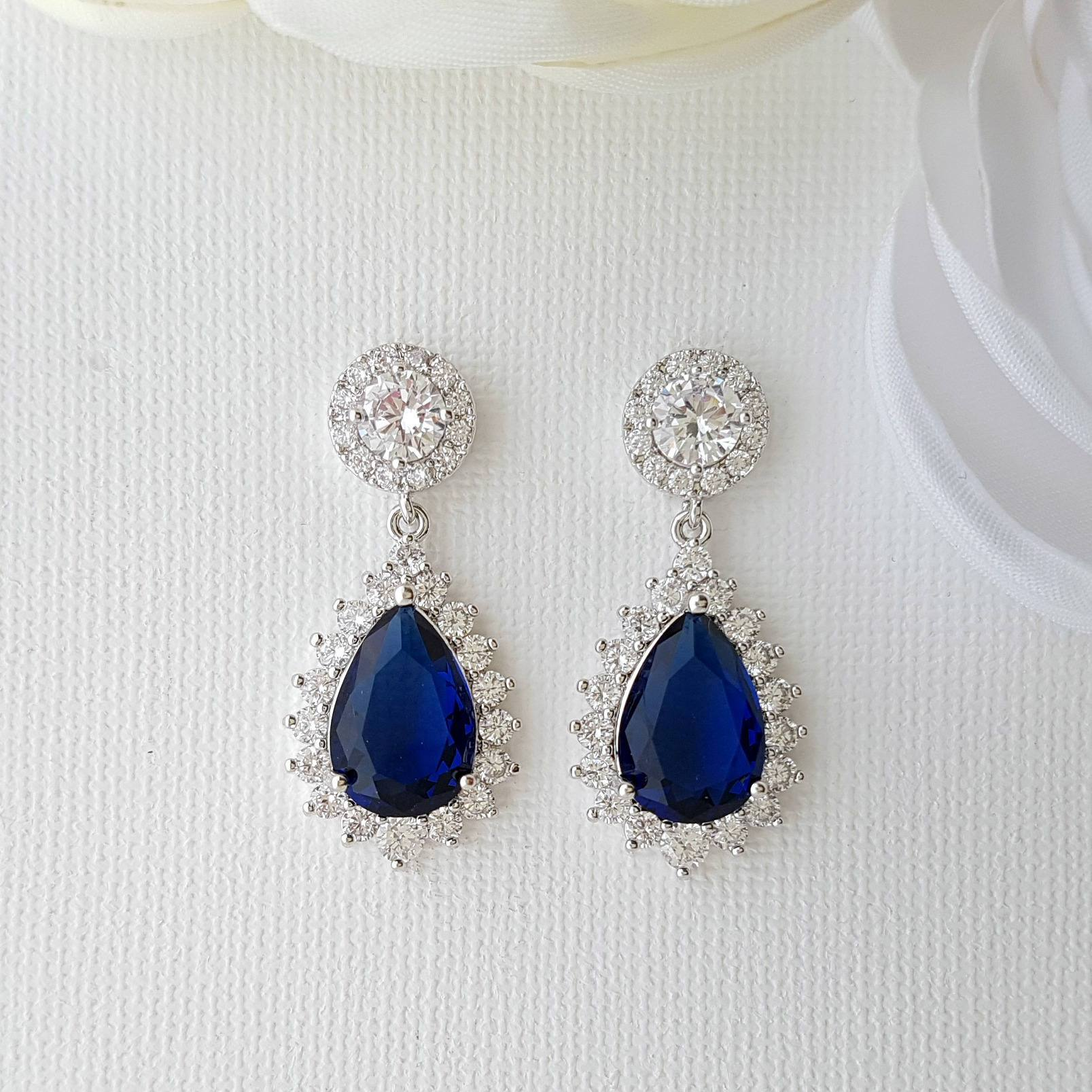Sapphire Blue Clip On Bridal Earrings-Aoi - PoetryDesigns