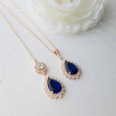 Rose gold Bridal Backdrop Necklace-Aoi