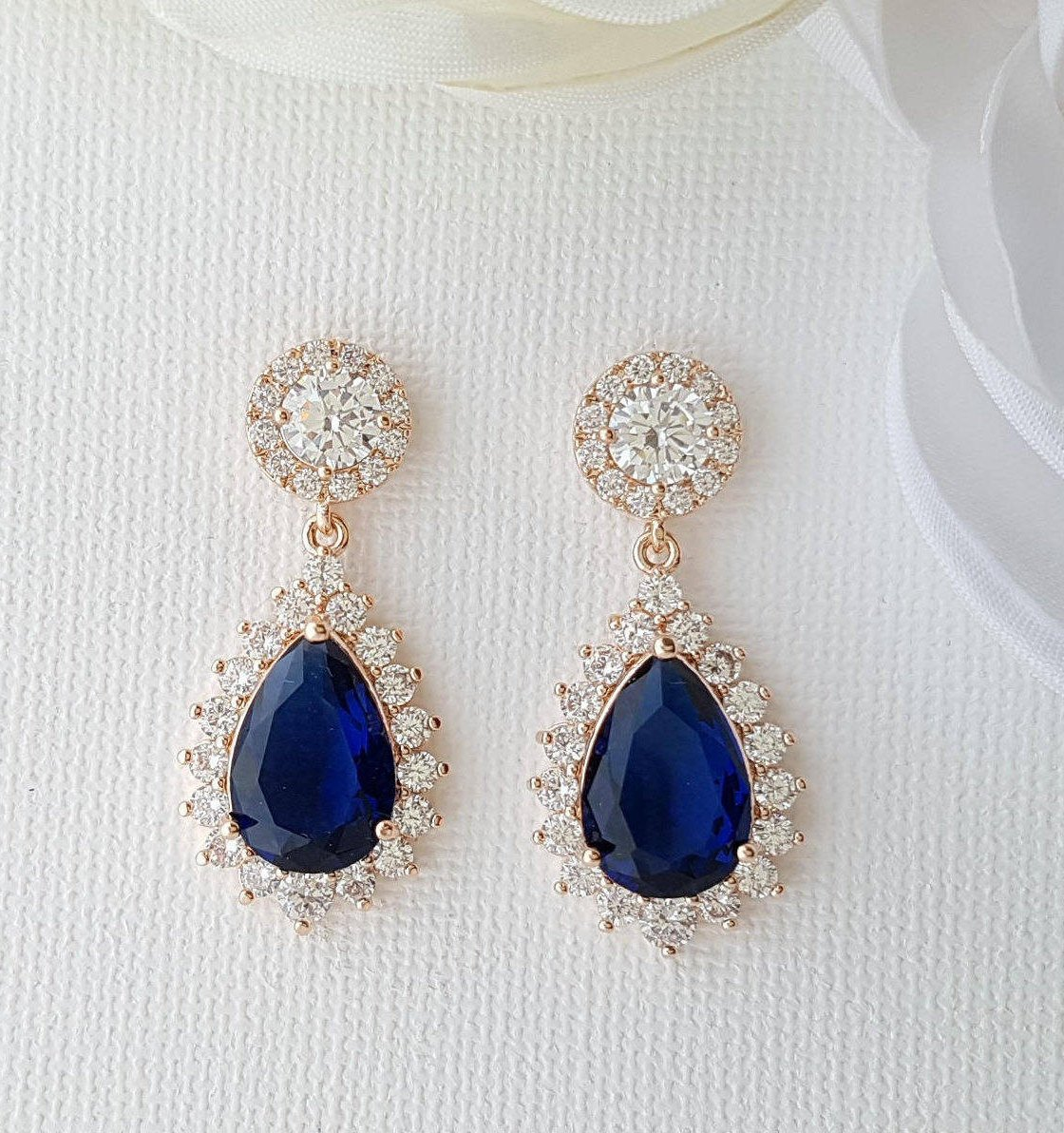 Blue Teardrop Earrings Rose Gold-Aoi