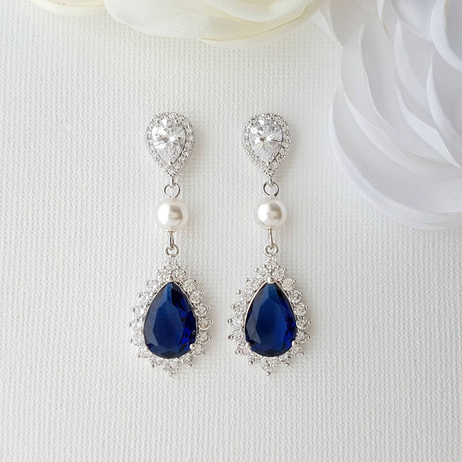 Blue Drop Earrings-Aoi