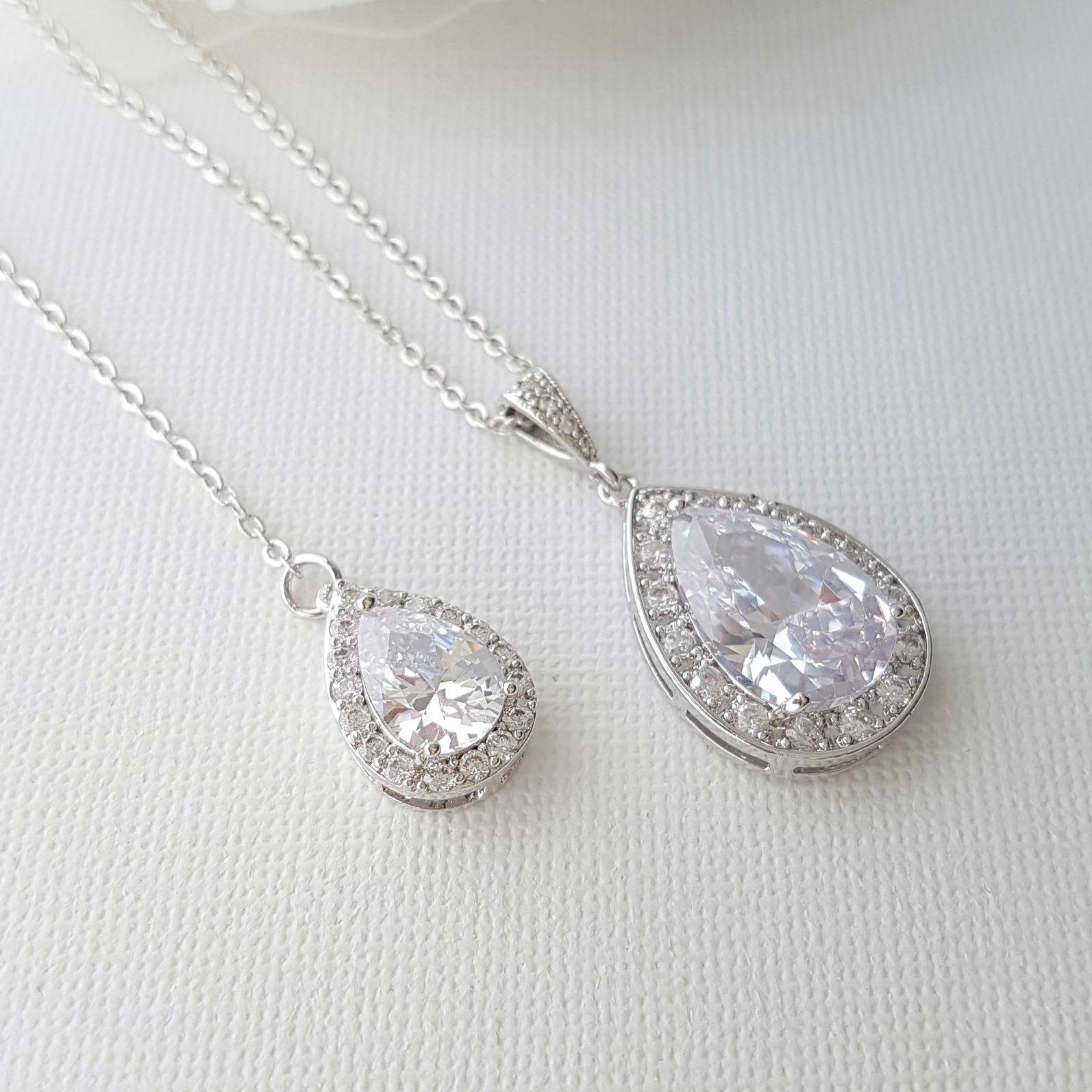 Simple Wedding Back Necklace, Crystal Backdrop Bridal Necklace, Crystal Drop Necklace, Bridesmaid Necklace Gift, Bridal Jewelry, Evelyn - PoetryDesigns