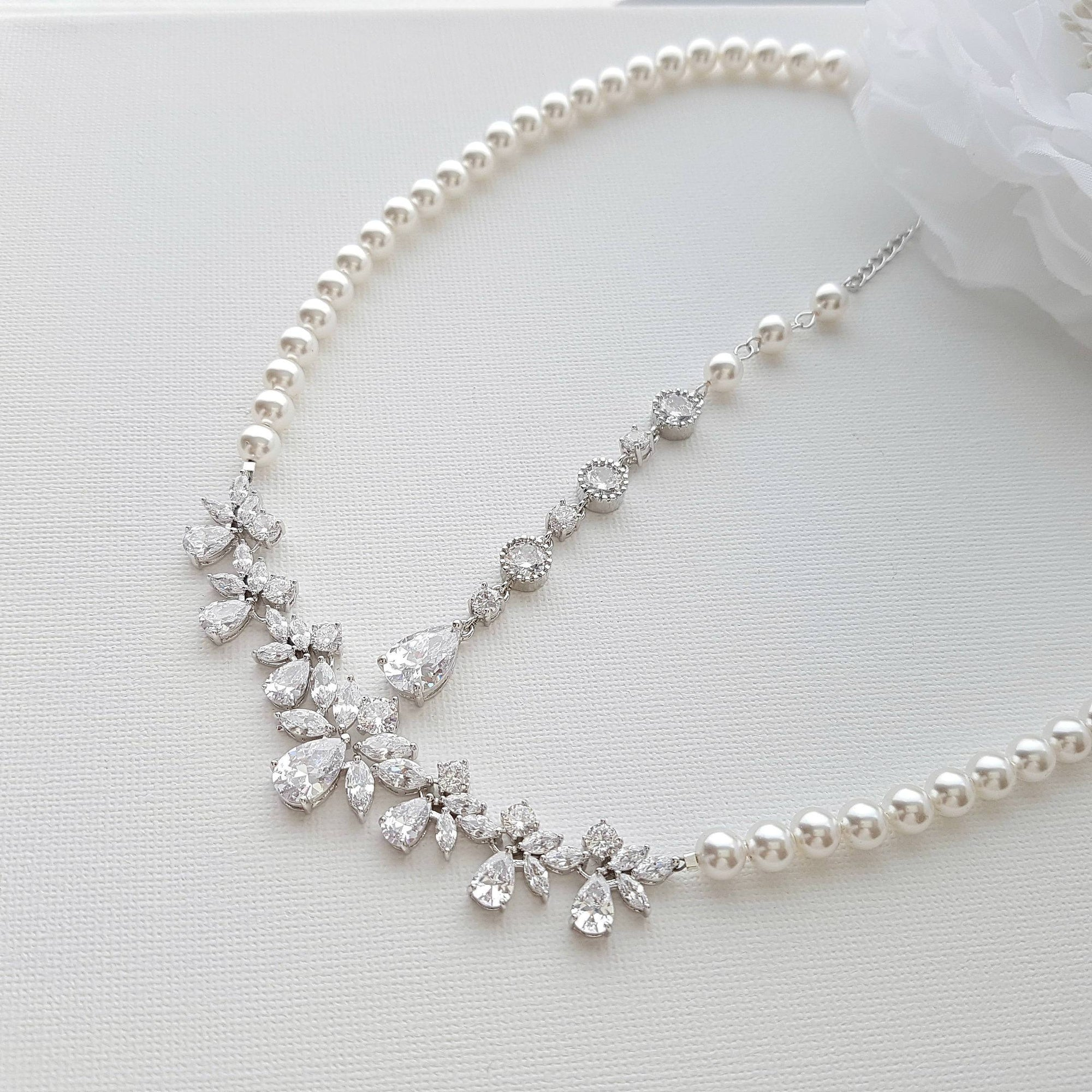 Back bridal necklace crystal and pearl wedding necklace wedding back bridal necklace crystal and pearl wedding necklace wedding back necklace necklace with junglespirit Gallery
