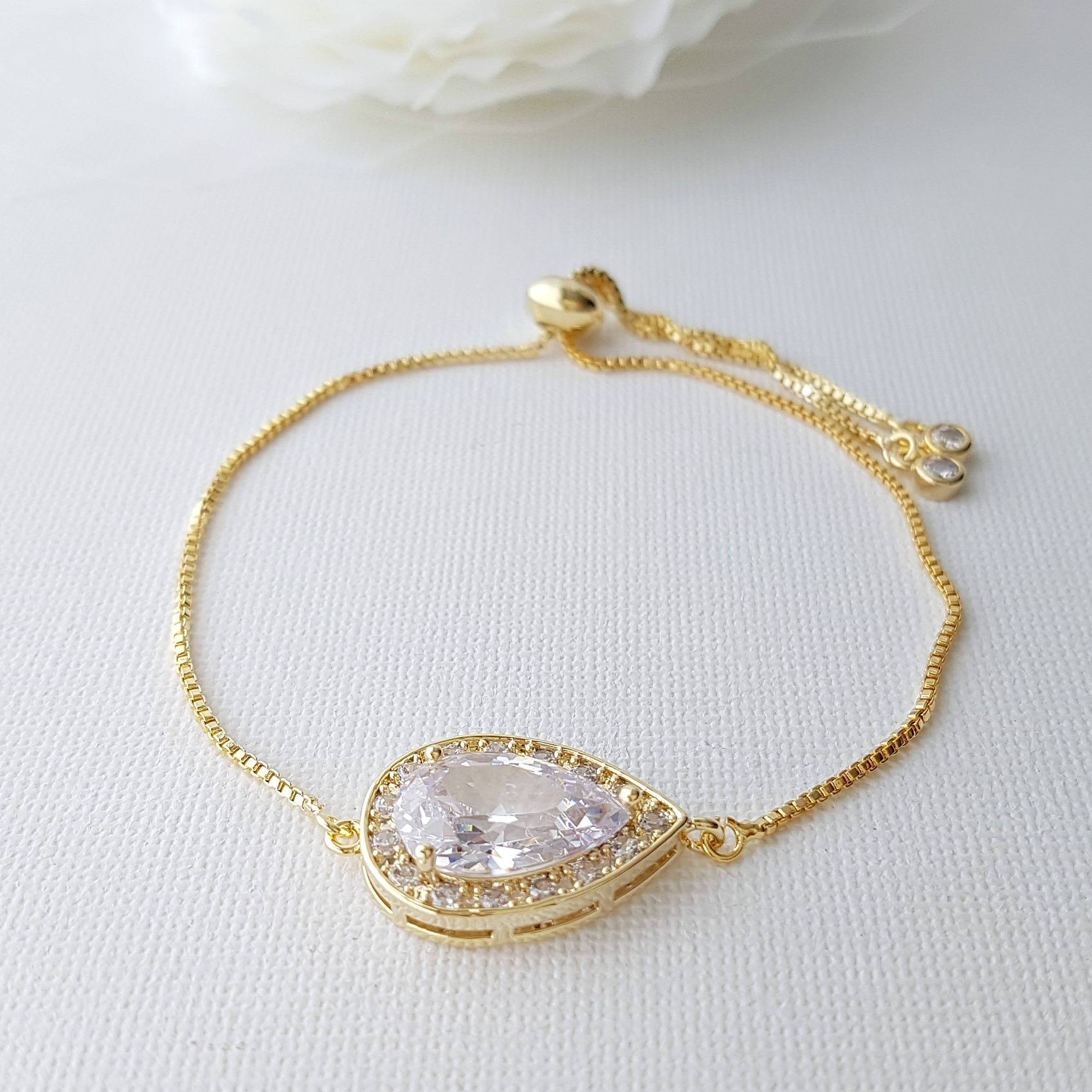 Simple Wedding Bracelet Gold, Gold Bridal Bracelet, Teardrop, Crystal Adjustable Bracelet, Gold Bridesmaid Bracelet, Wedding Jewelry, Evelyn