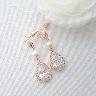 Rose Gold Drop Earrings in Pearl and Crystal