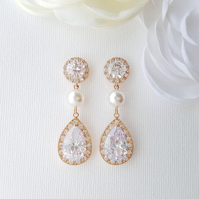 Rose Gold Crystal Pearl Drop Bridal Earrings