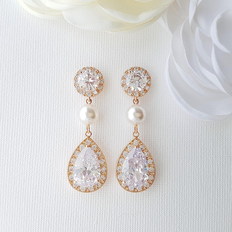Rose Gold Crystal and Pearl Drop Earrings-Evita