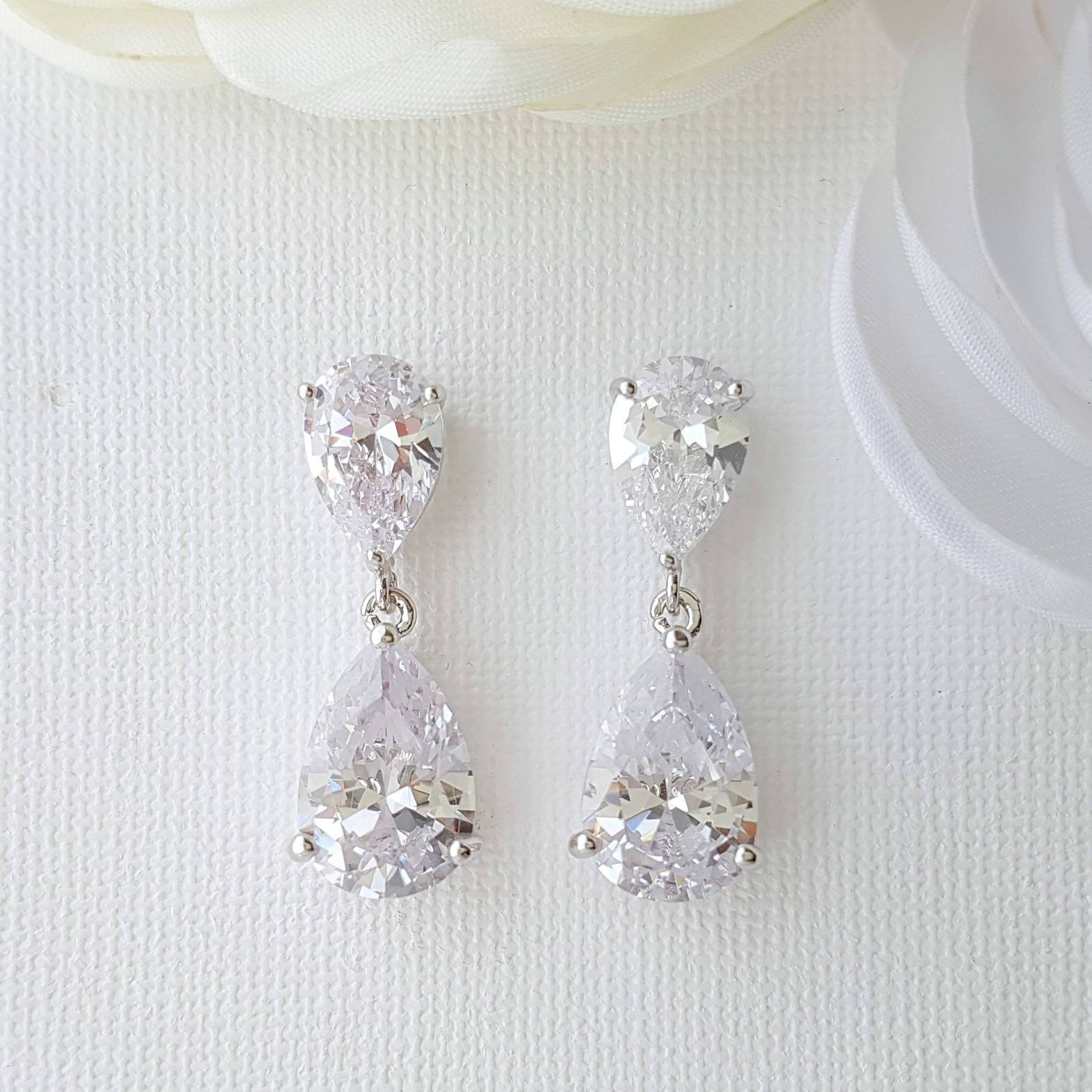 Diamante Drop Earrings-Clara