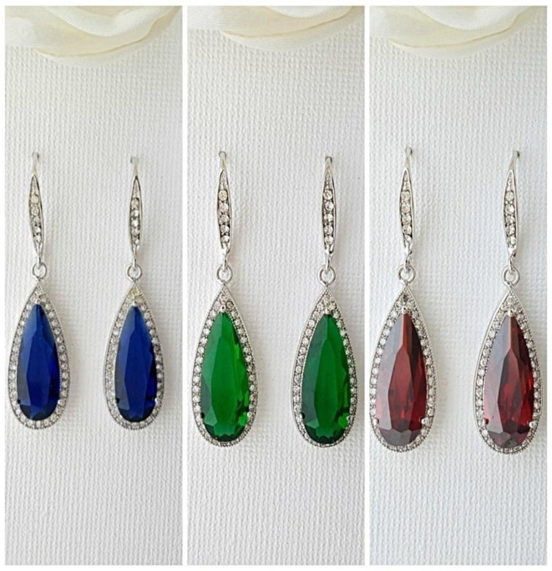 Blue, Red & Green Bridesmaids Earrings