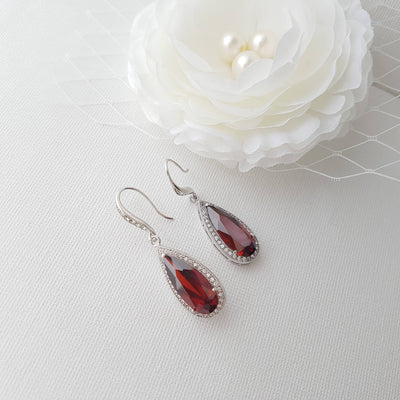 Red Bridesmaids Dangle Earrings in Cubic Zirconia
