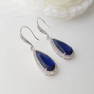 Blue Teardrop Dangle Earrings for Bridesmaids