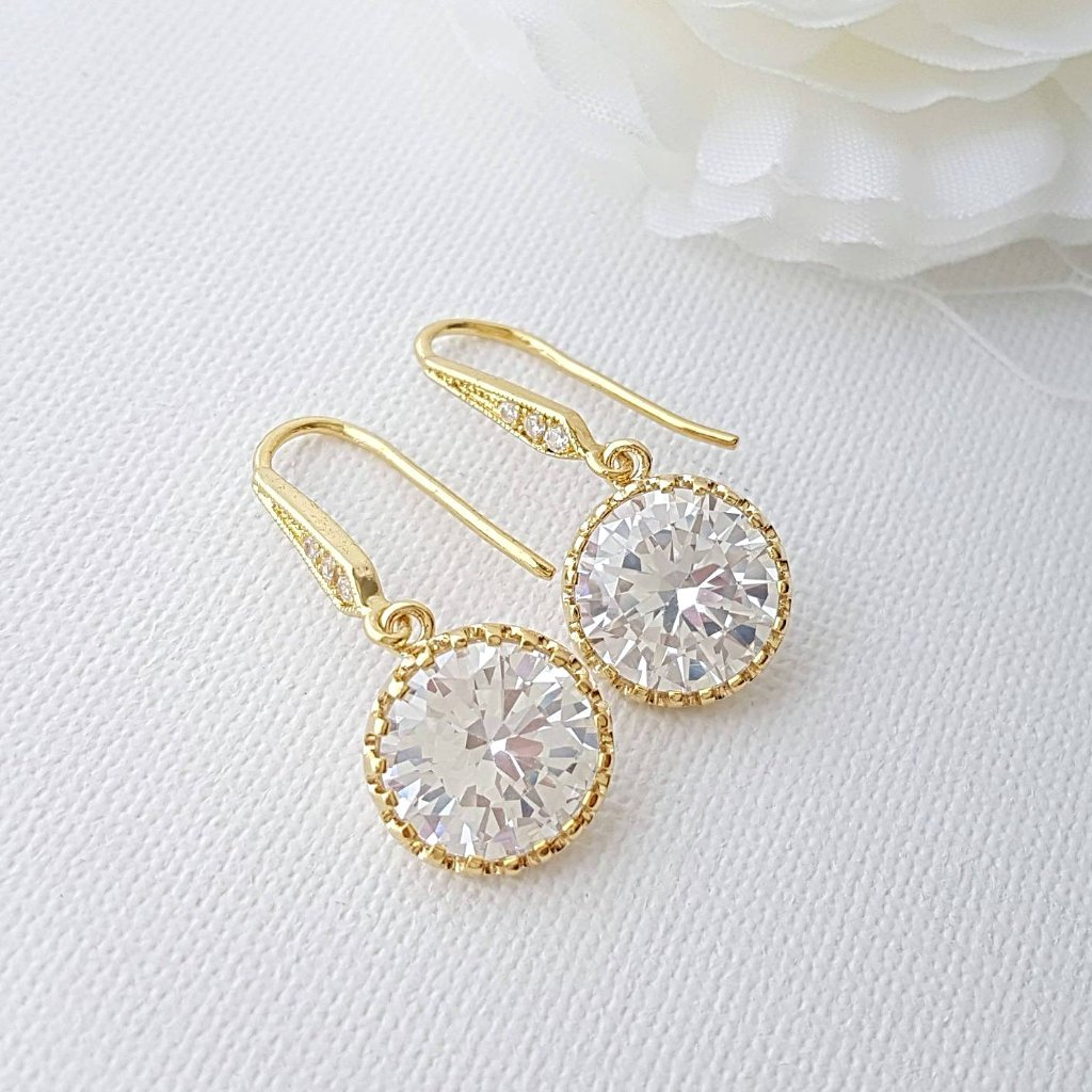 Bridesmaid Gift Gold Earrings - PoetryDesigns