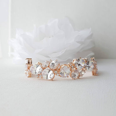 Rose Gold Bridal Bracelet, Wedding Bracelet, Crystal Bridal Bracelet, Oval CZ, Gold Bridal Bracelet, Wedding Bridal Jewelry, Emily