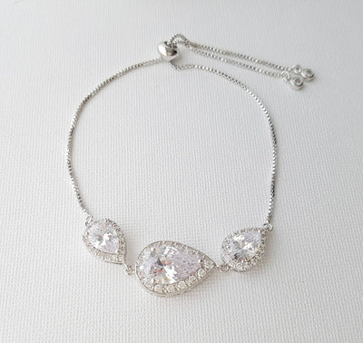 Crystal Bridal Bracelet, Wedding Jewelry, Bridesmaid Bracelet, Teardrop Bracelet, Zirconia Wedding Bracelet Adjustable Bracelet, Evelyn