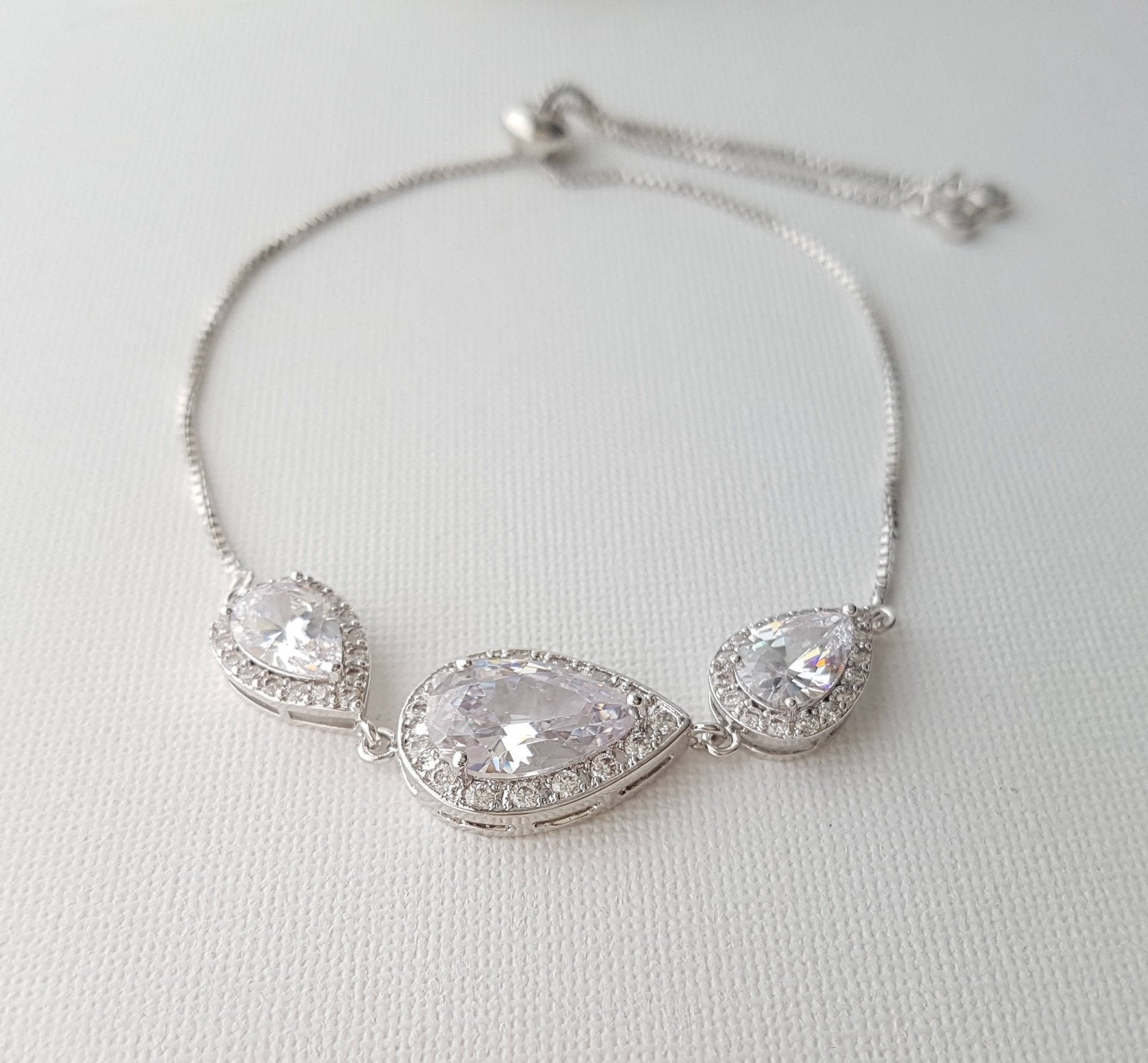 Crystal Bridal Bracelet, Wedding Jewelry, Bridesmaid Bracelet, Teardrop Bracelet, Zirconia Wedding Bracelet Adjustable Bracelet, Evelyn - PoetryDesigns