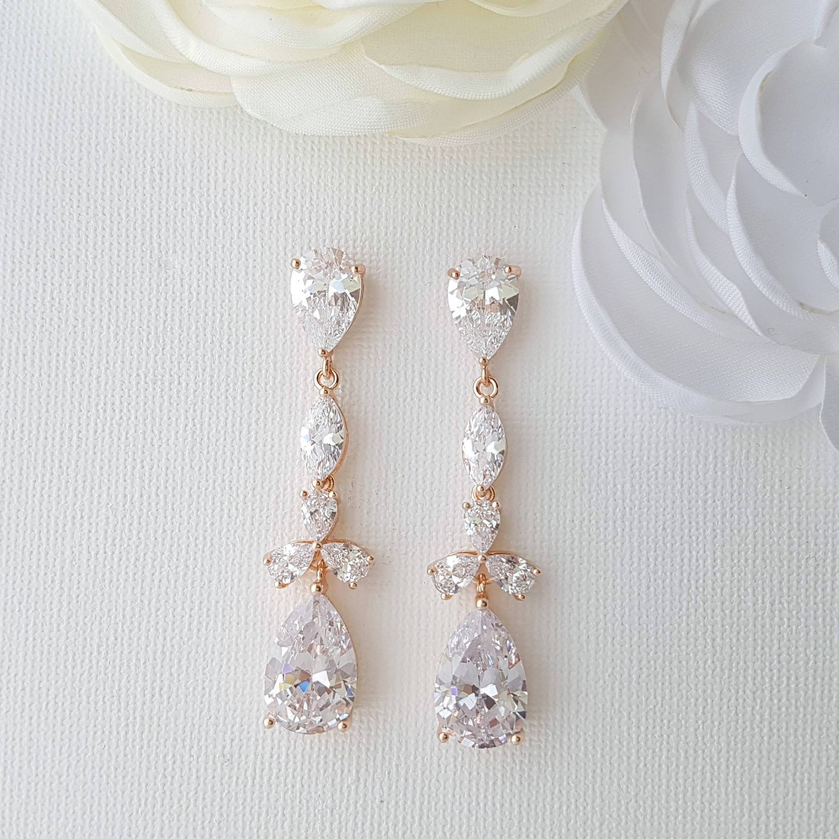Rose Gold Drop Earrings for Weddings