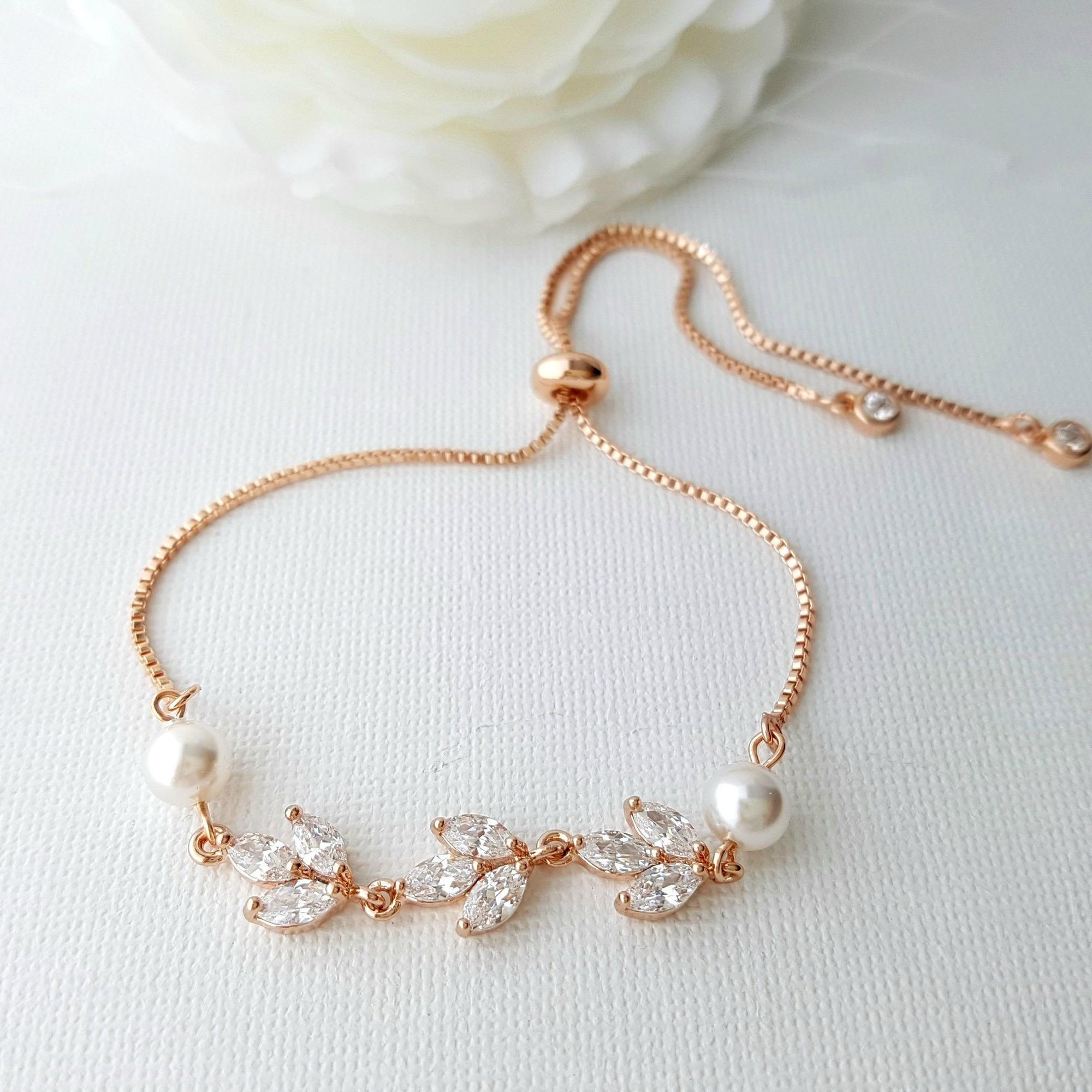 Bridal Bracelet in Rose Gold With CZ & Pearl-Leila - PoetryDesigns