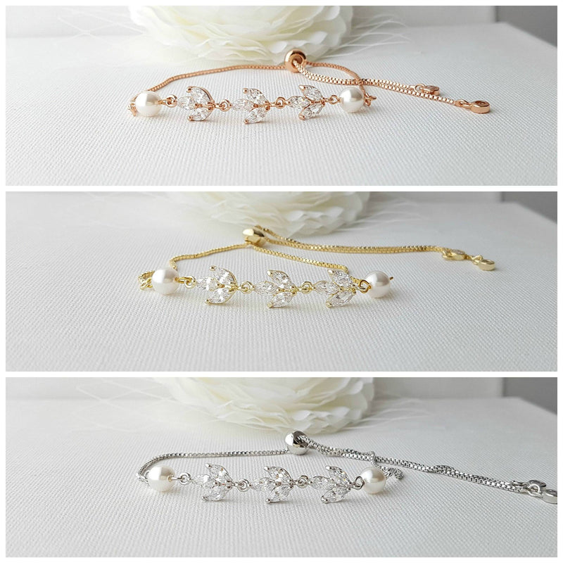 Bridal Bracelet in Rose Gold With CZ & Pearl-Leila
