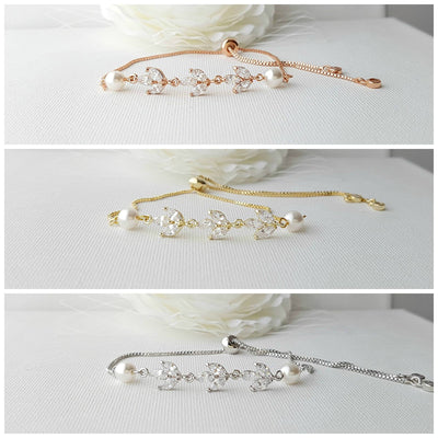 Dainty Bridal Bracelet with marquise crystal and pearl with adjustable slider clasp