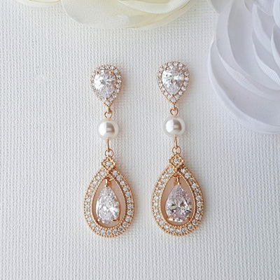 Rose Gold Bridal Earrings in Pearls & Cubic Zirconia-Sarah
