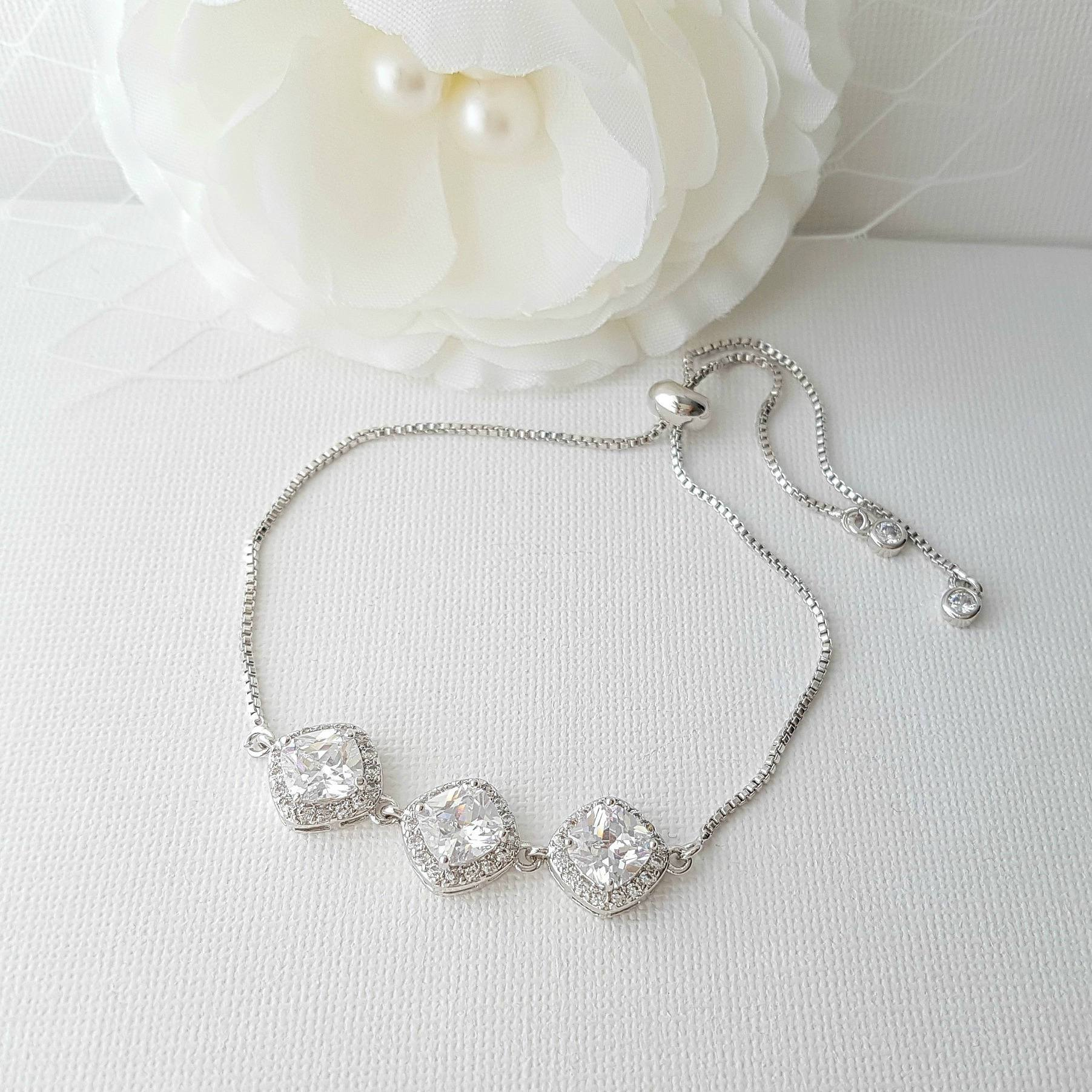 Crystal Wedding Bracelet, Bridal Bracelet, Adjustable Bracelet, Cubic Zirconia Bracelet, Cushion Cut Crystal, Bridal Jewelry, Celia Bracelet