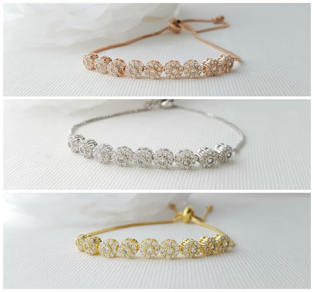 Bridal Bracelet, Wedding Jewelry, Rose Gold, Gold, Bangle Bracelet, Halo Style, Wedding Bracelet, Adjustable Bracelet, Reagan Bracelet - PoetryDesigns