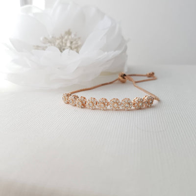 Bridal Bracelet, Wedding Jewelry, Rose Gold, Gold, Bangle Bracelet, Halo Style, Wedding Bracelet, Adjustable Bracelet, Reagan Bracelet