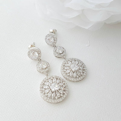 Cubic Zirconia Circle Earrings for weddings
